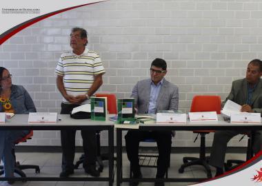 Miembros del presídium Dra. Liliana Ibeth Castañeda Rentería, Dr. Jesús Ruiz Flores, Dr. Sergio Lorenzo Sandoval Aragón y el Dr. Ignacio Medina Núñez